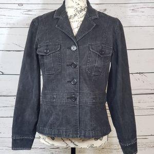 LIZ CLAIBORNE Charcoal Stitch-Trim Denim Jacket